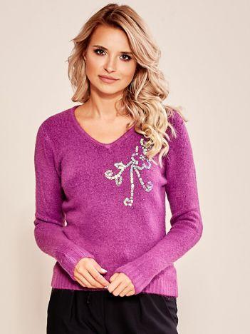 Fioletowy sweter z cekinami