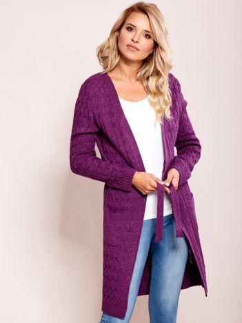Fioletowy sweter z paskiem