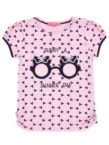 Fioletowy t-shirt dla dziewczynki z nadrukiem i aplikacją