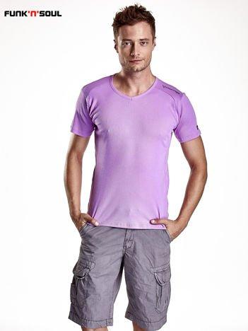 Fioletowy t-shirt męski w prążki Funk n Soul