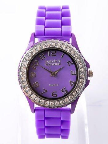Fioletowy zegarek silikonowy damski