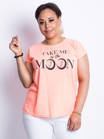 Fluo brzoskwiniowy t-shirt plus size Moonraker