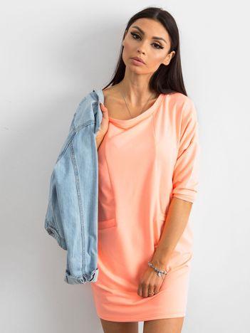 Fluo pomarańczowa bawełniana sukienka