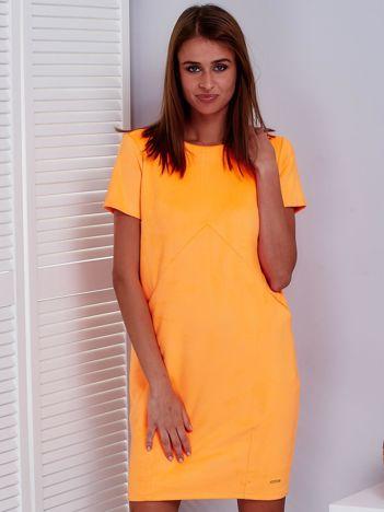 Fluo pomarańczowa sukienka z imitacji zamszu z kieszonkami