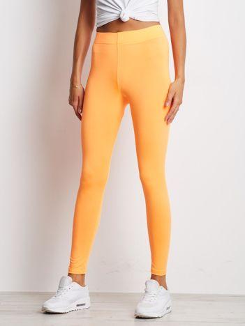 Fluo pomarańczowe długie cienkie legginsy do biegania