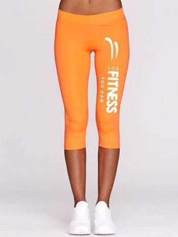 Fluo pomarańczowe krótkie legginsy fitness z nadrukiem na nogawce