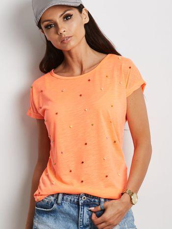 Fluo pomarańczowy t-shirt z kolorowymi perełkami