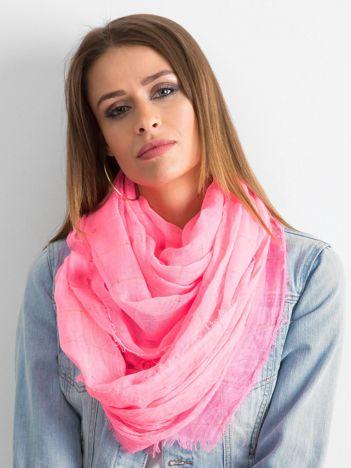 Fluo różowa chusta z metaliczną nicią