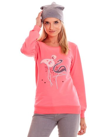 Fluo różowa lekka bluza z nadrukiem flamingów