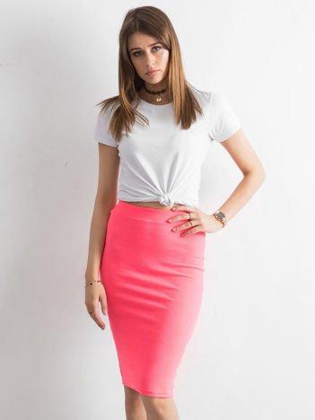 Fluo różowa spódnica tuba w prążek