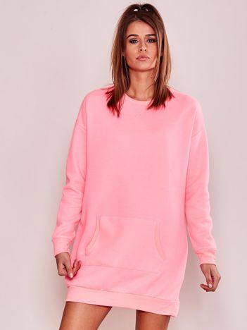 Fluo różowa sukienka dresowa