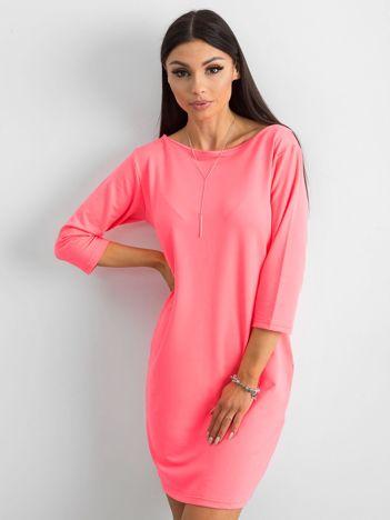 Fluo różowa sukienka z bawełny