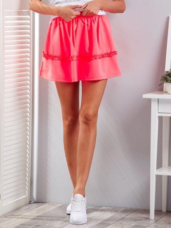 Fluo różowa warstwowa spódnica z falbanką
