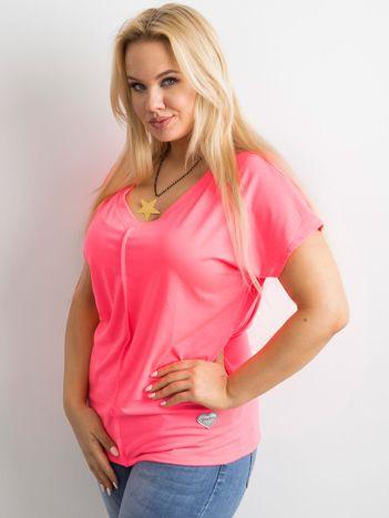 Fluo różowy t-shirt PLUS SIZE