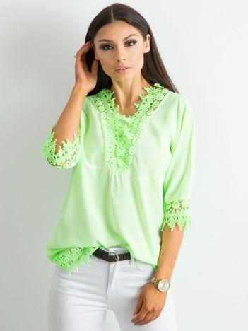 Fluo zielona bluzka z koronką