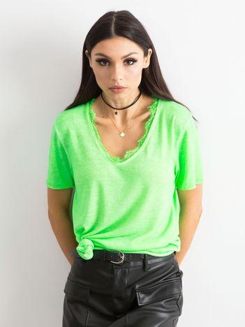 Fluo zielona bluzka z krótkim rękawem