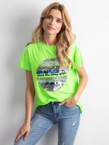 Fluo zielona koszulka z cekinami