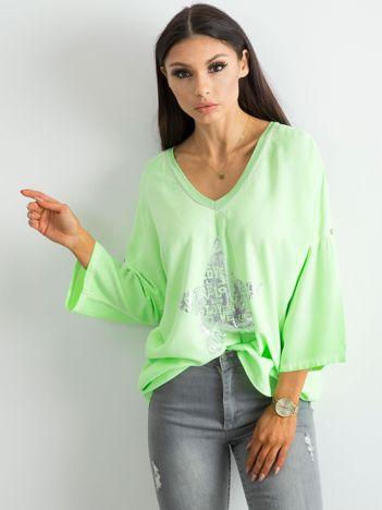 Fluo zielona luźna bluzka z nadrukiem