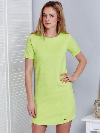 Fluo zielona sukienka w wypukły kwiatowy wzór
