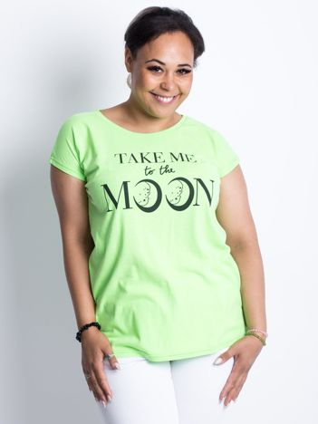 Fluo zielony t-shirt plus size Moonraker