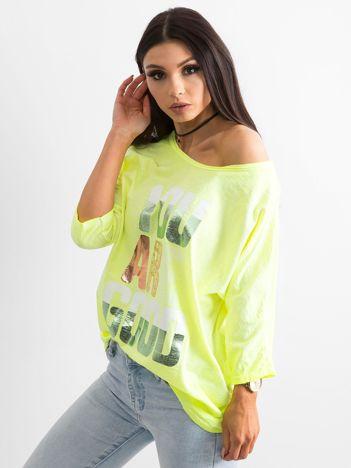 Fluo żółta bluzka z kolorowym napisem