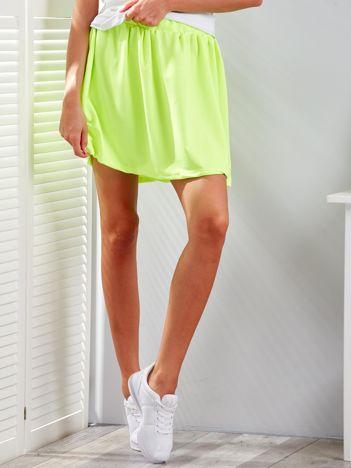 Fluo żółta rozkloszowana dresowa spódnica
