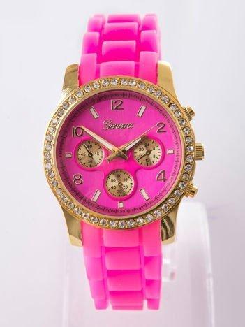 Fluoróżowy silikonowy zegarek damski