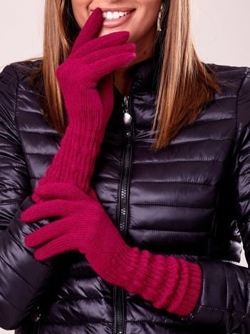 Fuksjowe długie rękawiczki z drapowanym rękawem