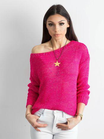 Fuksjowy sweter z metaliczną nicią