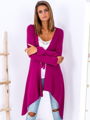Fuksjowy wiązany asymetryczny sweter