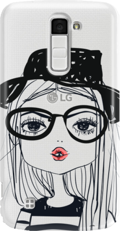 Funny Case ETUI LG K10 GIRL WITH PINK LIPS