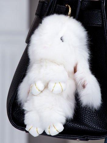 Futrzany brelok króliczek biały