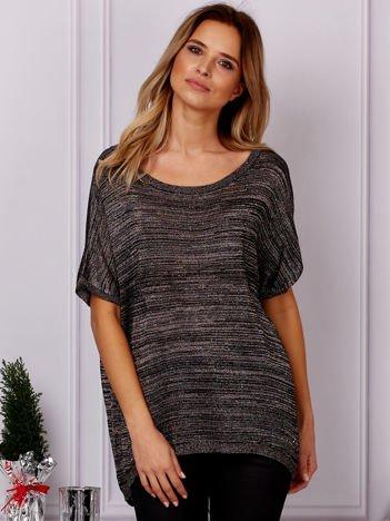 G by BACZYŃSKA Brązowo-czarny sweter z błyszczącą nicią