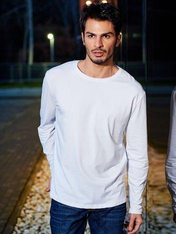 Gładka biała bluzka męska z długim rękawem