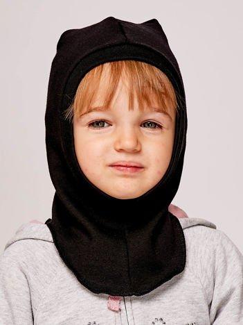 Gładka kominiarka dziewczęca z luźnym czubkiem czarna