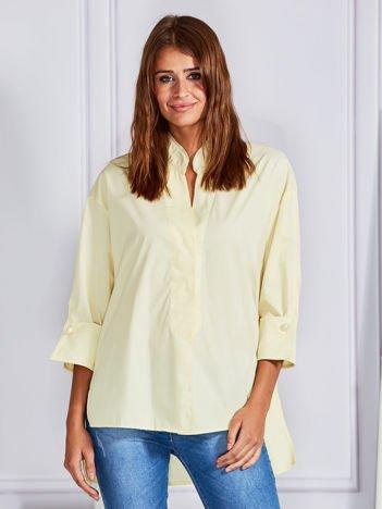 Gładka koszula z dłuższym tyłem żółta