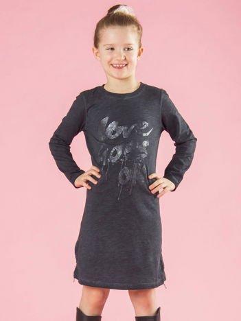 Grafitowa bawełniana sukienka dziewczęca