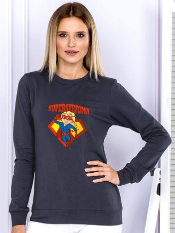 Grafitowa bluza damska SUPER SZEFOWA blondynka