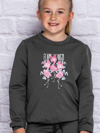 Grafitowa bluza dla dziewczynki z flamingami