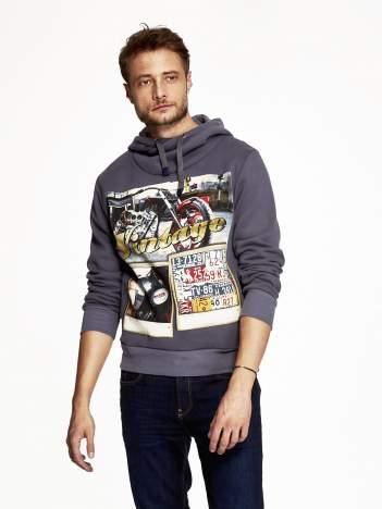 Grafitowa bluza męska z kapturem motyw motocyklowy