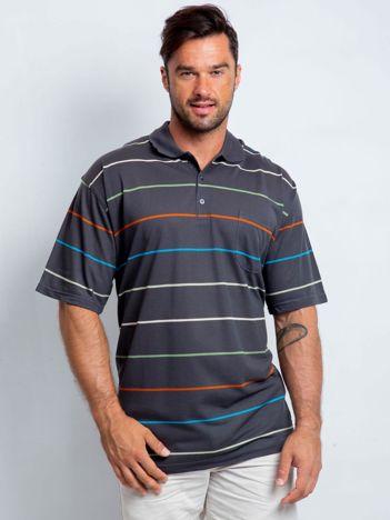 Grafitowa koszulka polo męska plus size Appropriate