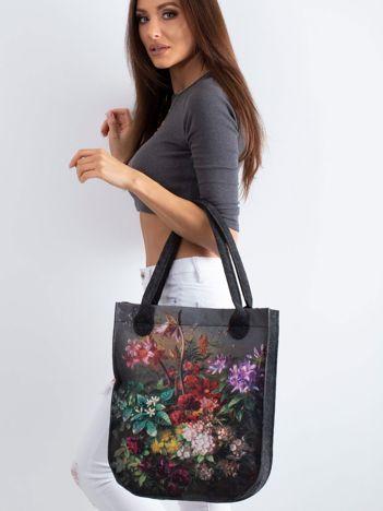 Grafitowa torba filcowa z nadrukiem kwiatów