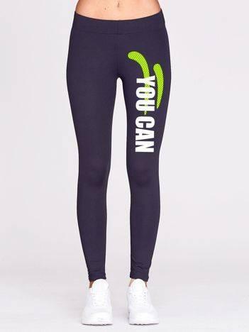Grafitowe długie legginsy do biegania z fitnessowym nadrukiem