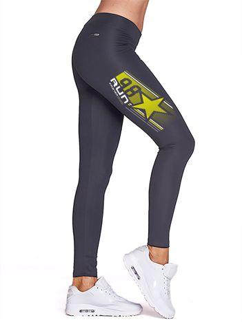 Grafitowe legginsy gimnastyczne z gwiazdą