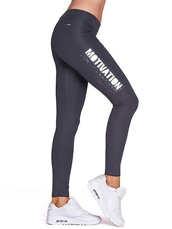 Grafitowe legginsy na siłownię z motywującym hasłem