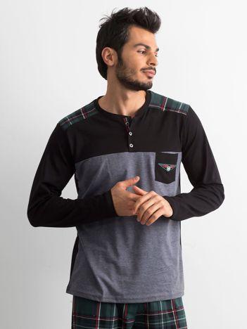 Grafitowo-zielona piżama męska