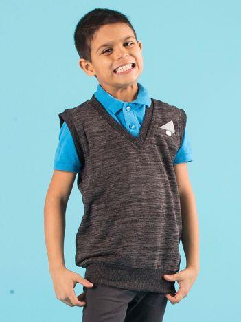 Grafitowy sweter chłopięcy bez rękawów