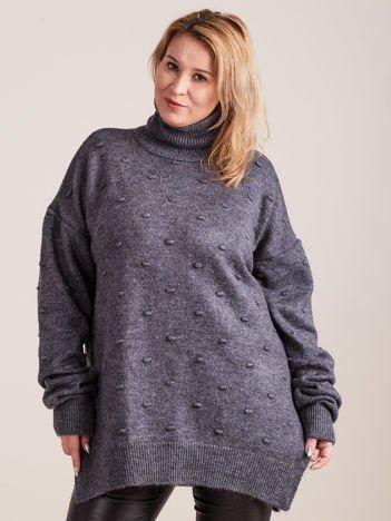 Grafitowy sweter z golfem PLUS SIZE