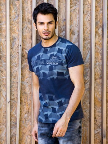 Grafitowy t-shirt męski z futurystycznym nadrukiem