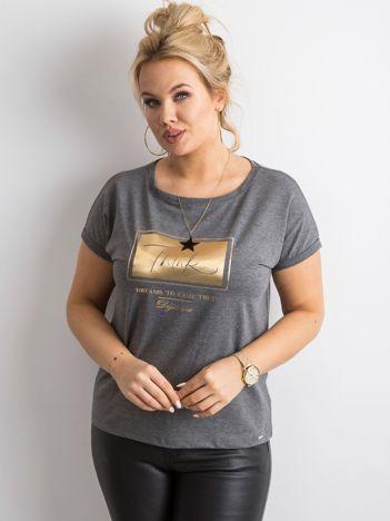 Grafitowy t-shirt z nadrukiem PLUS SIZE